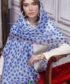 روسری نخی خالدار آبی