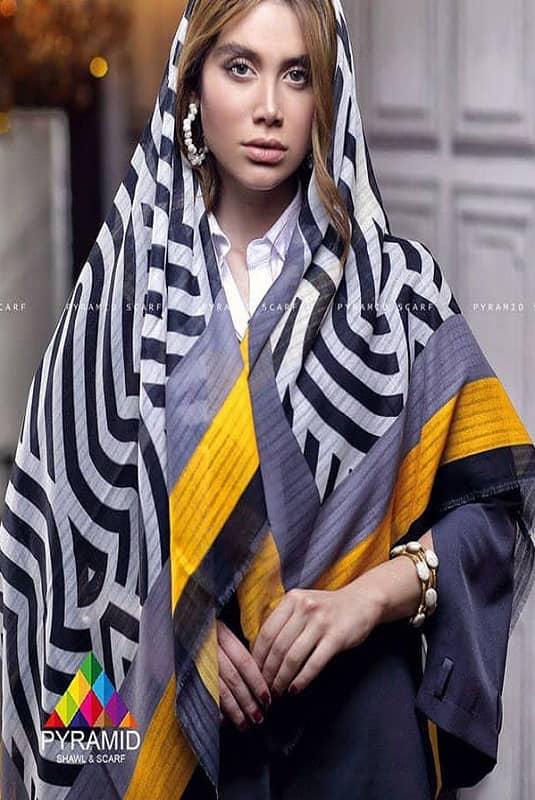 روسری نخی پیرامید طرح زبرا