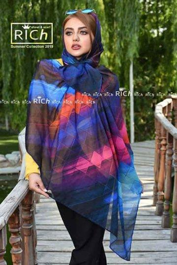 روسری نخی طرح مربع رنگی