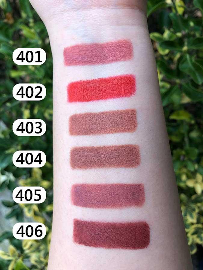 تست رنگ رژ لب مدادی مات پیپا شماره 401 تا 406