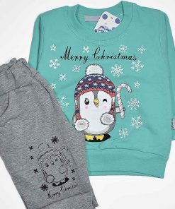 ست بلوز شلوار دخترانه پنگوئن کریسمس