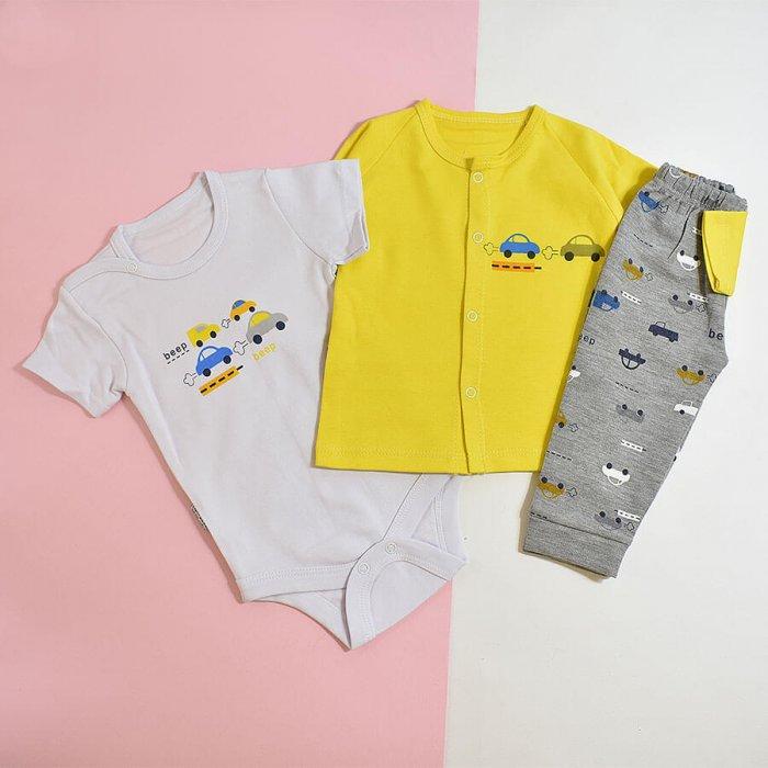 ست نوزادی پسرانه سه تکه طرح ماشین لیمویی