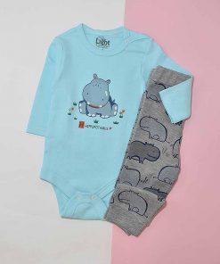 لباس نوزادی طرح اسب آبی کد 1182