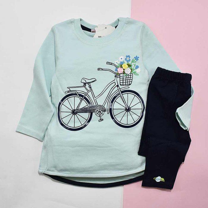 بلوز و شلوار دخترانه طرح دوچرخه کد 2154