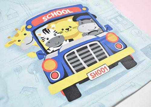 بلوز و شلوارک پسرانه طرح اتوبوس کد 2172