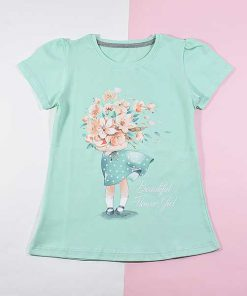 تیشرت دخترانه بچه گانه طرح دختر گلفروش کد 2196 آبی