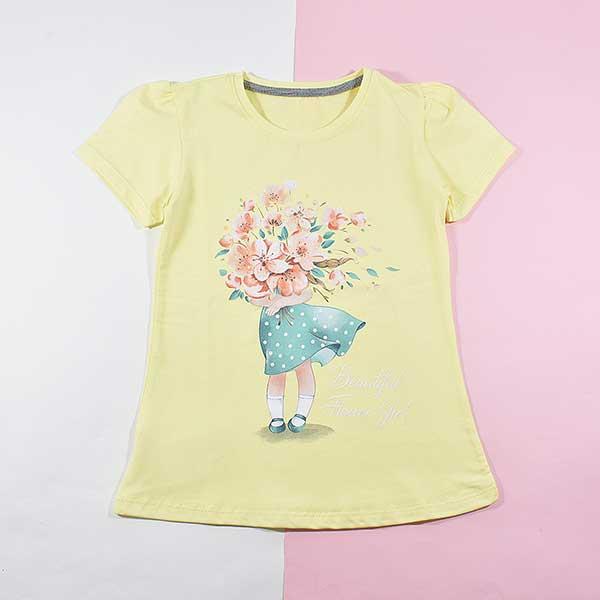 تیشرت دخترانه بچه گانه طرح دختر گلفروش کد 2196 لیمویی