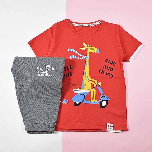 تیشرت شلوارک پسرانه بچه گانه زرافه موتور سوار 2211 قرمز