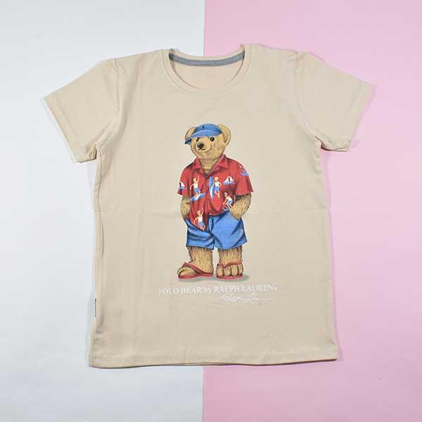 تیشرت پسرانه بچه گانه طرح خرس پولو کد 2192 رنگ کرم