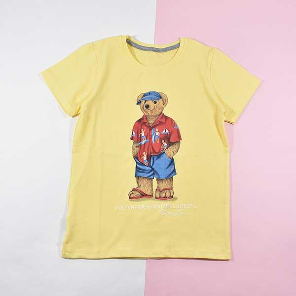 تیشرت پسرانه بچه گانه طرح خرس پولو کد 2192 رنگ زرد