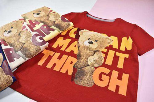 نمای نزدیک تیشرت پسرانه بچه گانه طرح خرس تدی کد 2193