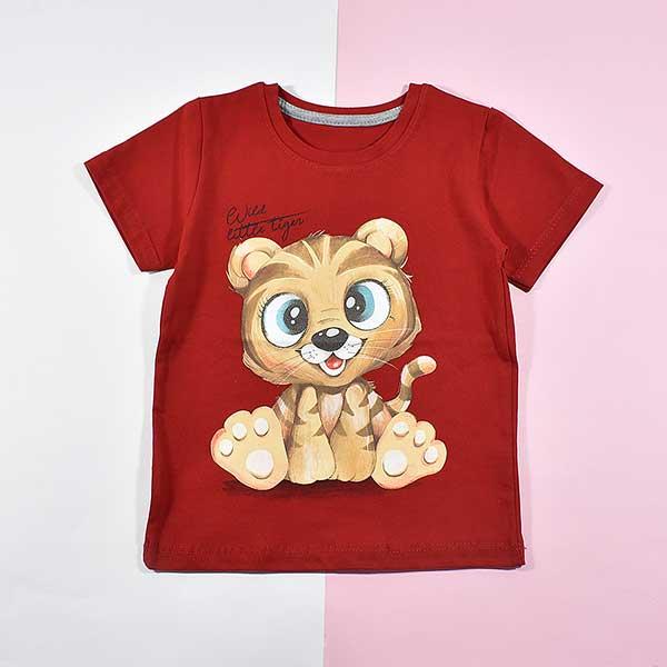 تیشرت پسرانه بچه گانه طرح تایگر کد 2191 رنگ قرمز