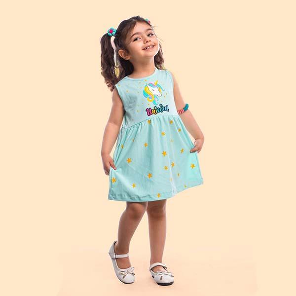 عکس مدل پیراهن دخترانه یونیکورن کد 2189