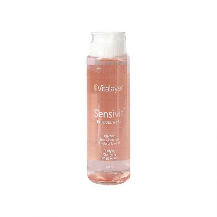 ژل شستشو صورت پوست حساس ویتالیر مدل سنسی ویت