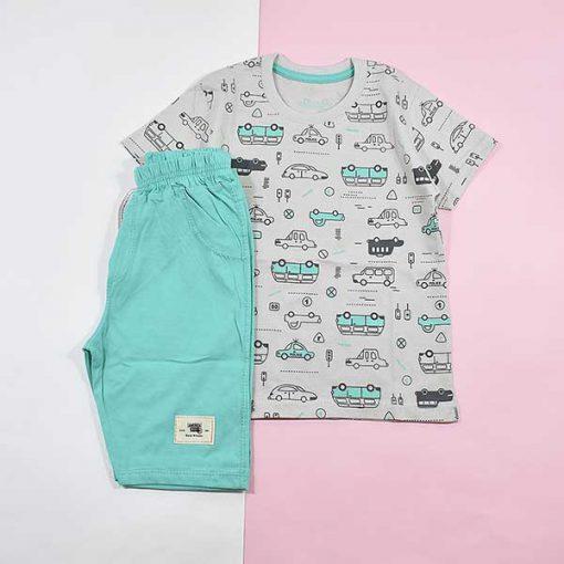 تیشرت شلوارک پسرانه بچه گانه طرح ماشین کد 2228-سبز آبی