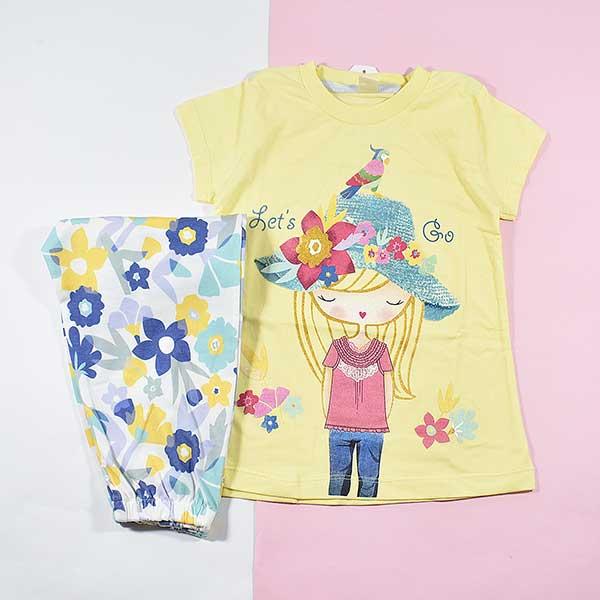 تیشرت شلوارک دخترانه بچه گانه دختر کلاهدار کد 2223 زرد