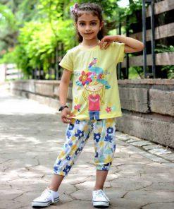 عکس مدل تیشرت شلوارک دخترانه بچه گانه دختر کلاهدار کد 2223