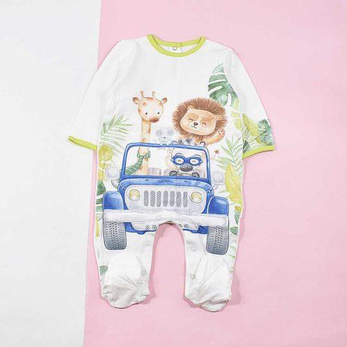 سرهمی نوزادی پسرانه طرح حیوانات استوایی کد 1202
