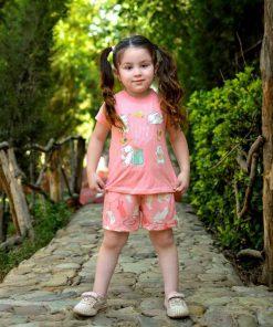 عکس مدل تیشرت شلوارک دخترانه بچه گانه خرگوش بازیگوش کد 2225