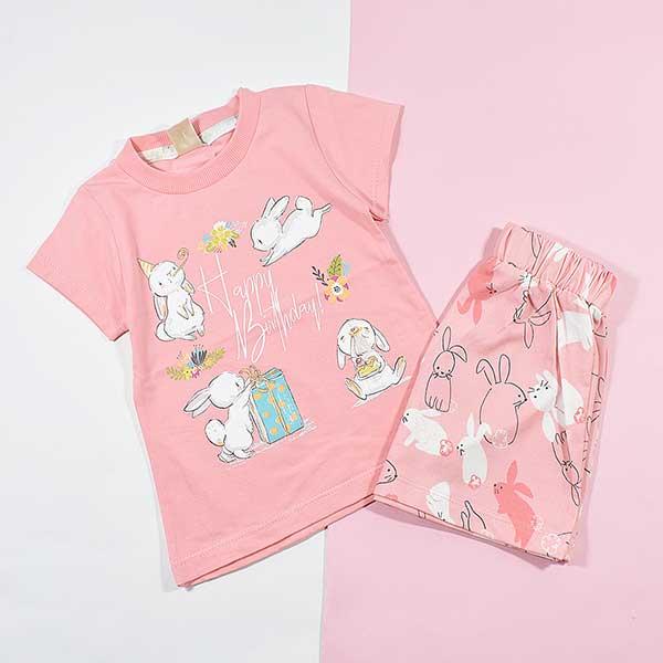 تیشرت شلوارک دخترانه بچه گانه خرگوش بازیگوش کد 2225 صورتی