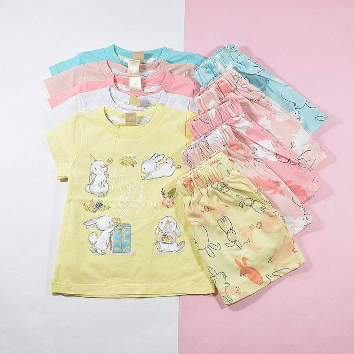 تیشرت شلوارک دخترانه بچه گانه خرگوش بازیگوش کد 2225