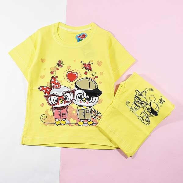 تیشرت شلوارک دخترانه بچه گانه طرح دو جغد 2219 زرد