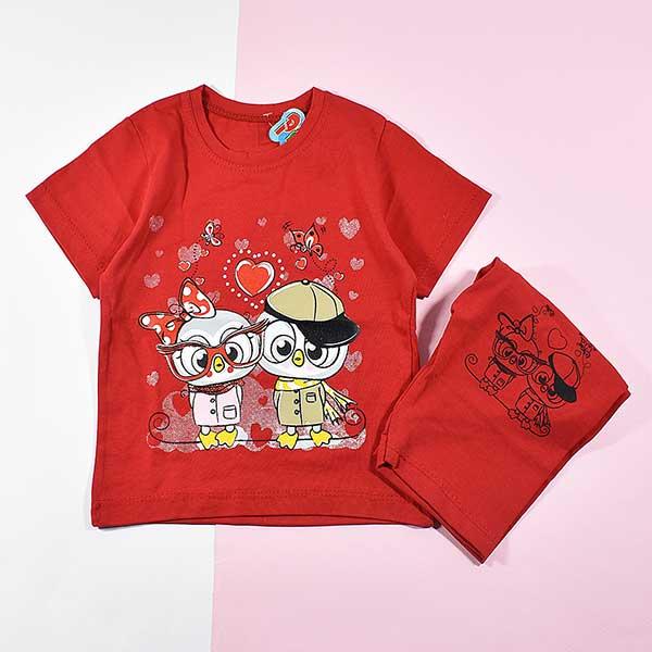 تیشرت شلوارک دخترانه بچه گانه طرح دو جغد 2219 قرمز