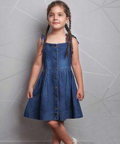 عکس مدل سارافون جین دخترانه بچه گانه بندی کد 2240