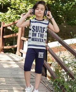 تاپ شلوارک پسرانه بچه گانه طرح surf کد 2232 - سرمه ای