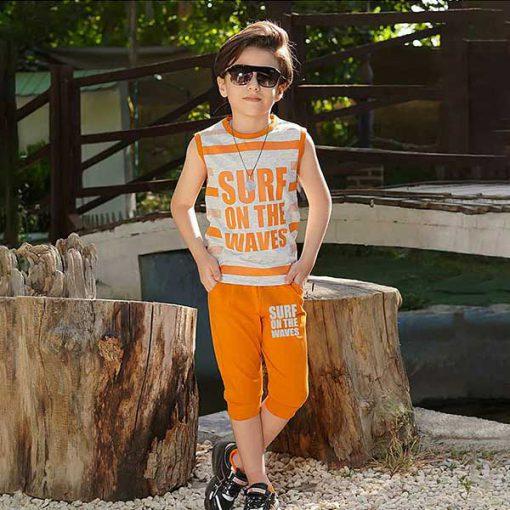 تاپ شلوارک پسرانه بچه گانه طرح surf کد 2232 - نارنجی
