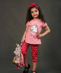 تیشرت شلوارک دخترانه بچه گانه تک شاخ کد 2235- صورتی