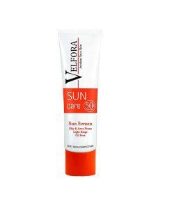 کرم ضد آفتاب بی رنگ پوست چرب ولفورا SPF50 بژ روشن